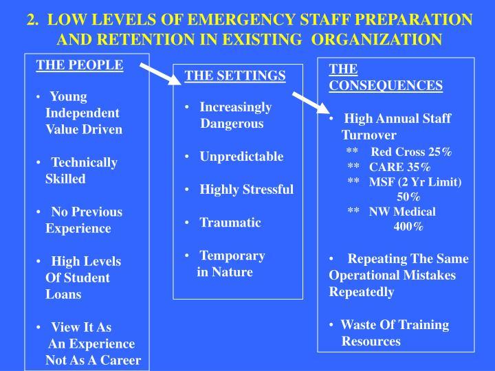2.  LOW LEVELS OF EMERGENCY STAFF PREPARATION
