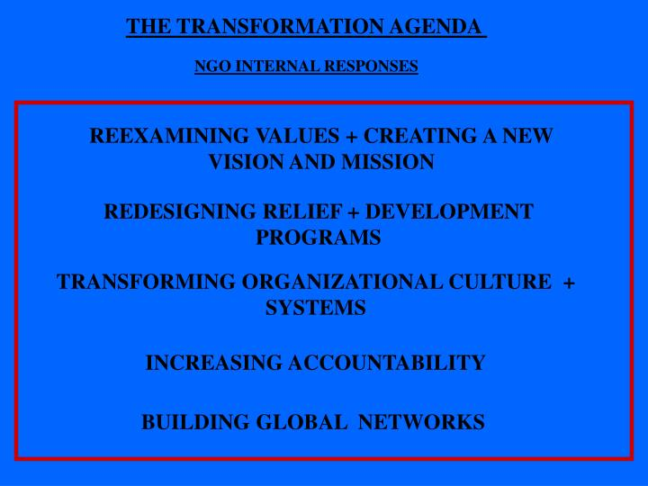 THE TRANSFORMATION AGENDA