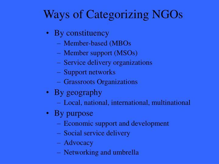 Ways of Categorizing NGOs