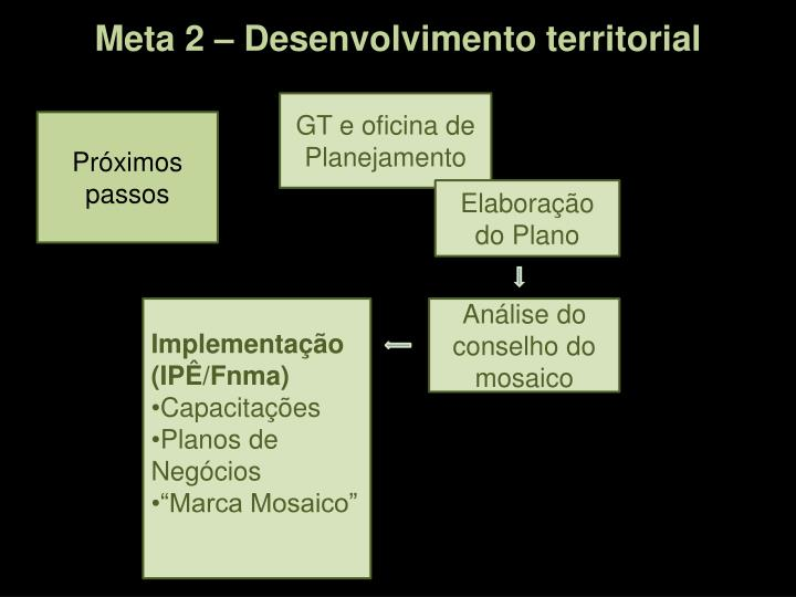 Meta 2 – Desenvolvimento territorial