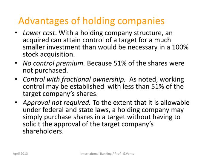 Advantages of holding companies