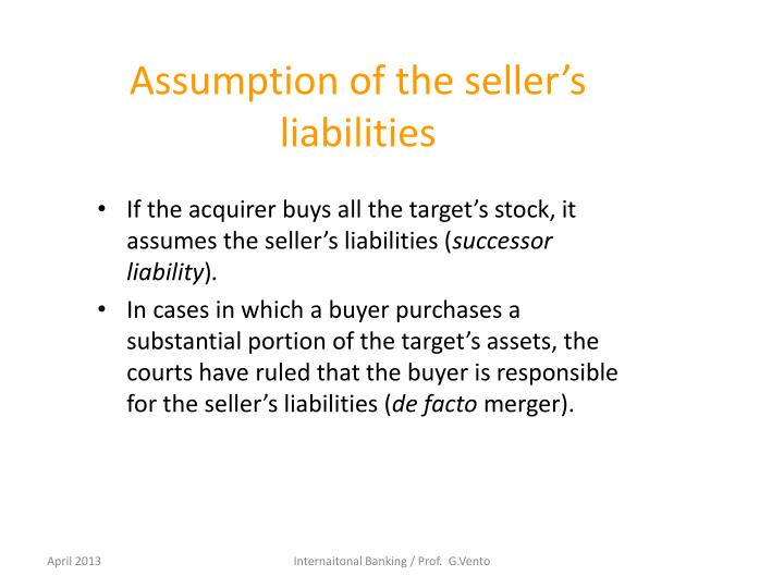 Assumption of the seller's liabilities
