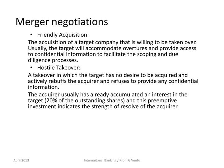 Merger negotiations