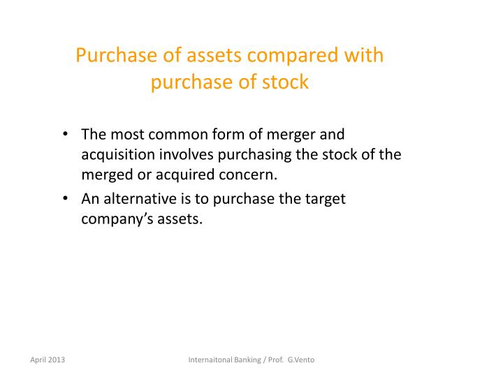 Purchase of assets compared with purchase of stock