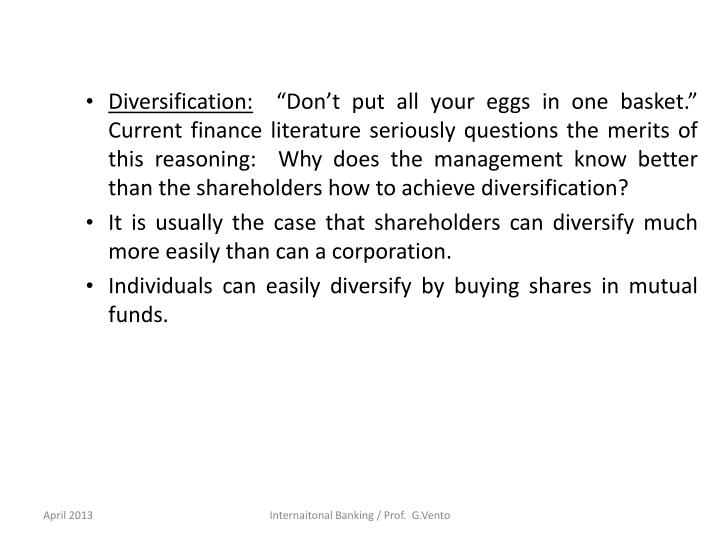 Diversification: