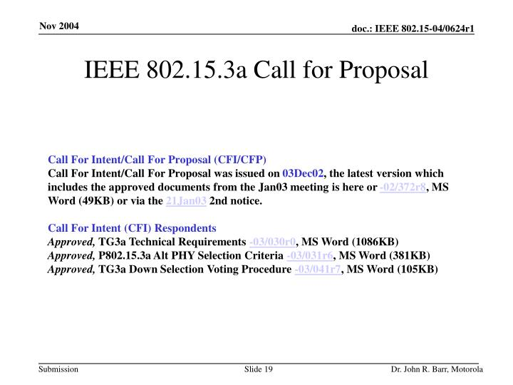 IEEE 802.15.3a Call for Proposal