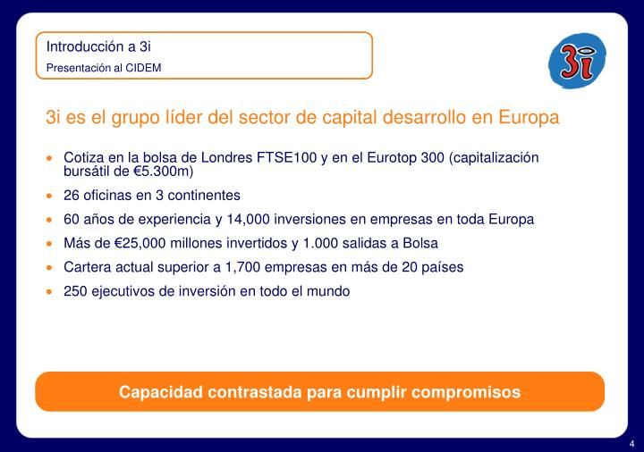 3i es el grupo líder del sector de capital desarrollo en Europa