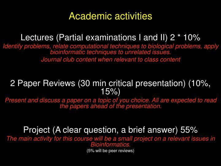 Academic activities