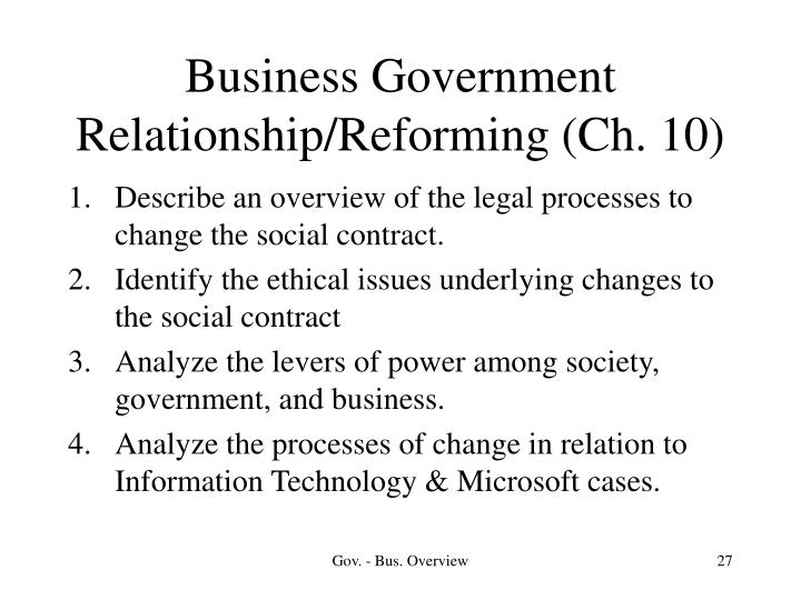 Business Government Relationship/Reforming (Ch. 10)