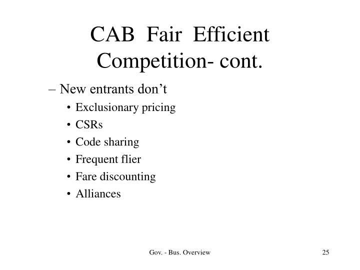 CAB  Fair  Efficient Competition- cont.