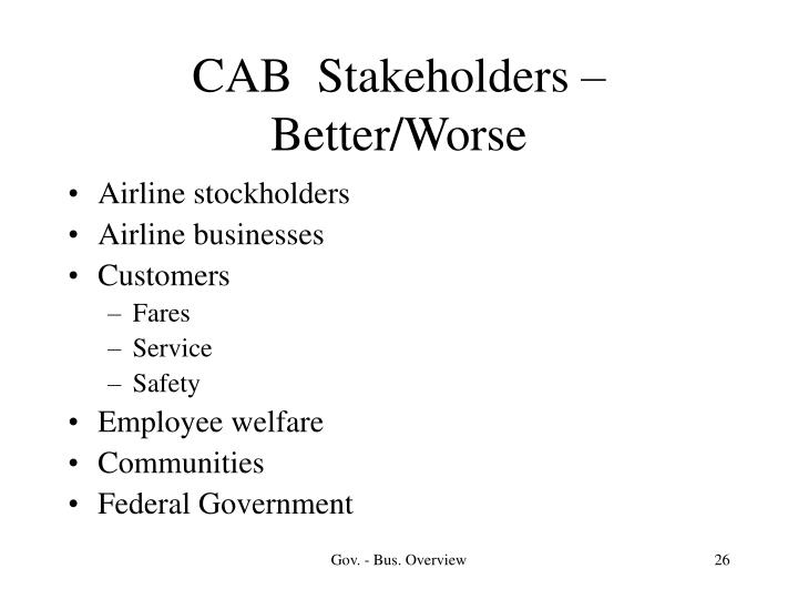 CAB  Stakeholders – Better/Worse