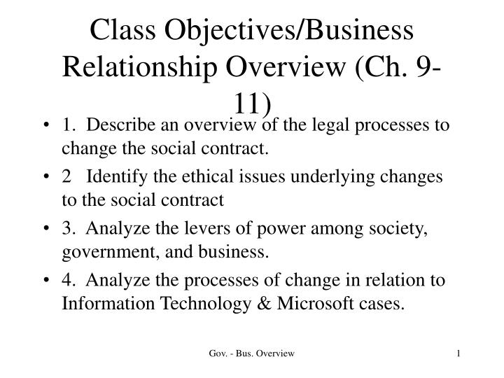Class Objectives/Business Relationship Overview (Ch. 9-11)