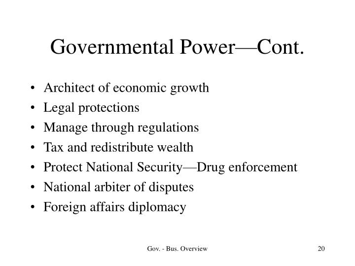 Governmental Power—Cont.