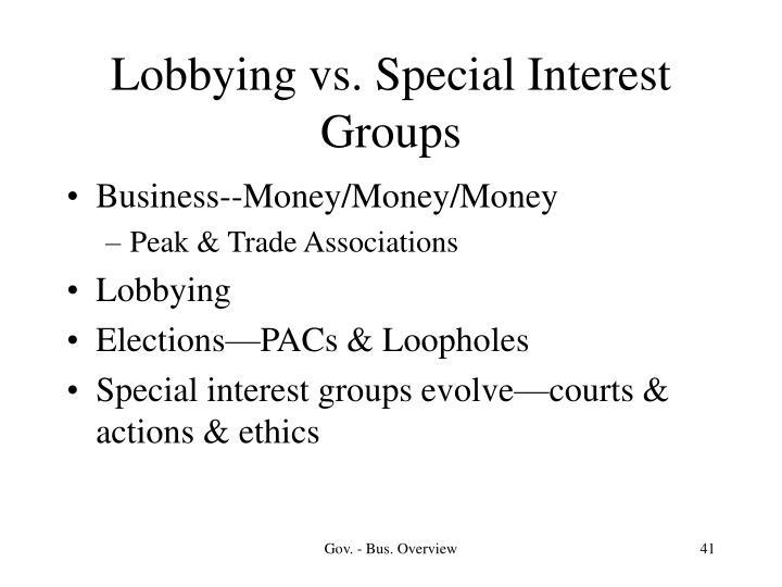 Lobbying vs. Special Interest Groups