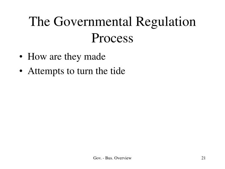 The Governmental Regulation Process