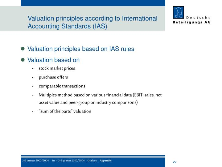 Valuation principles according to International Accounting Standards (IAS)
