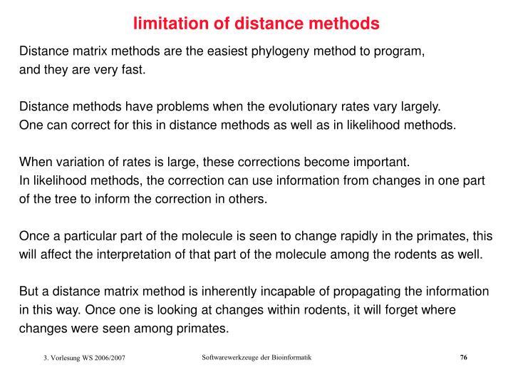 limitation of distance methods