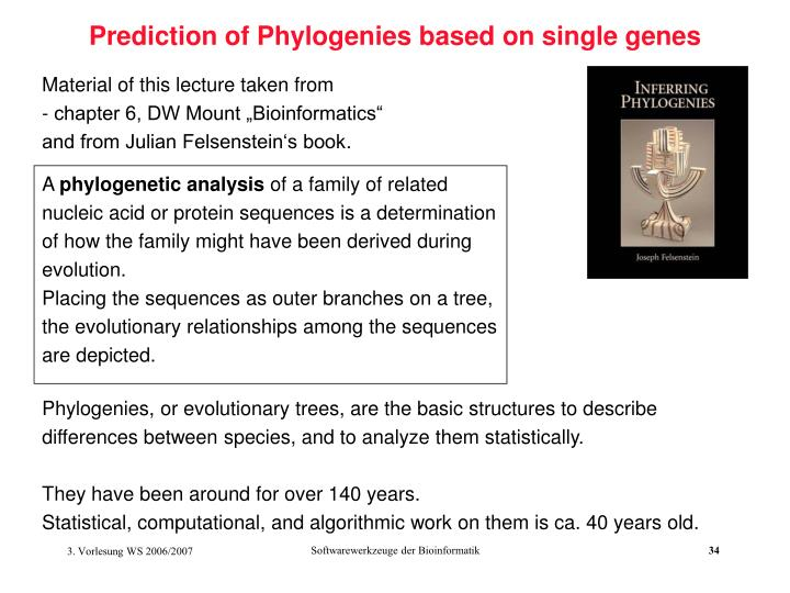 Prediction of Phylogenies based on single genes