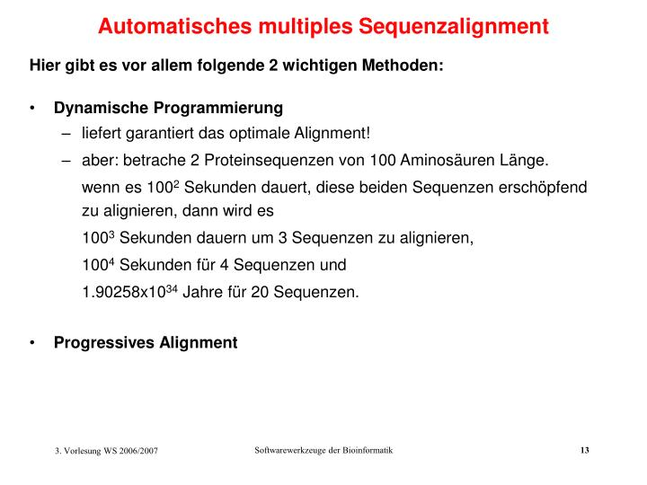 Automatisches multiples Sequenzalignment