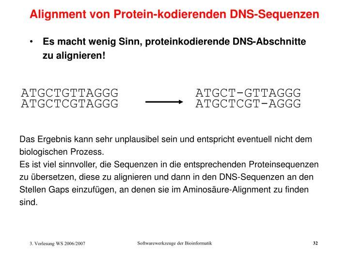 Alignment von Protein-kodierenden DNS-Sequenzen