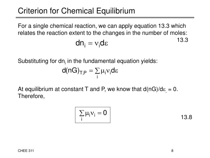 Criterion for Chemical Equilibrium