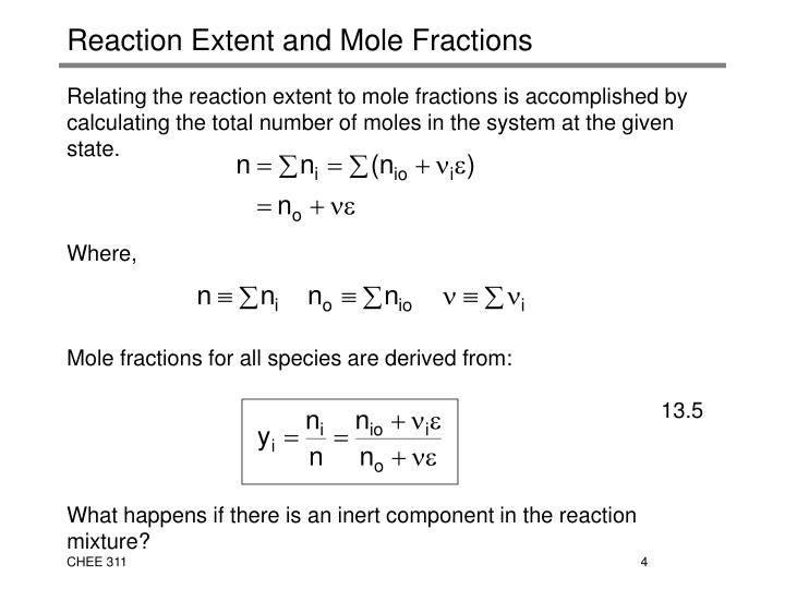 Reaction Extent and Mole Fractions