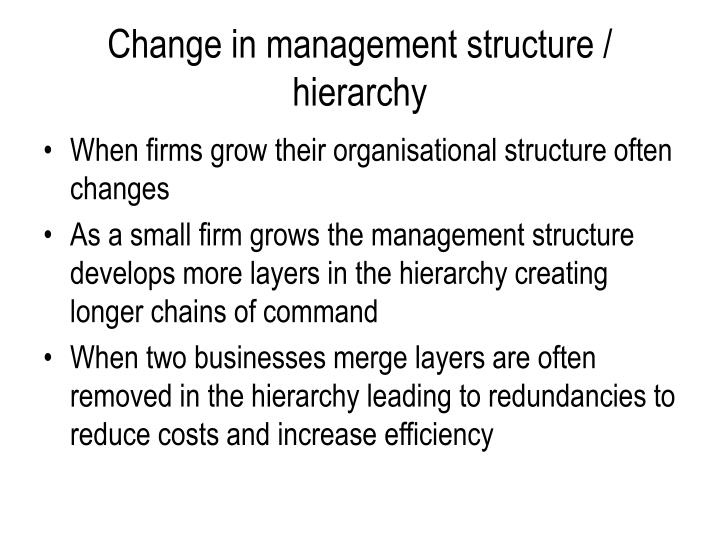 Change in management structure / hierarchy