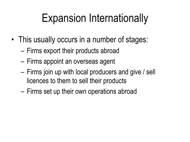 Expansion Internationally