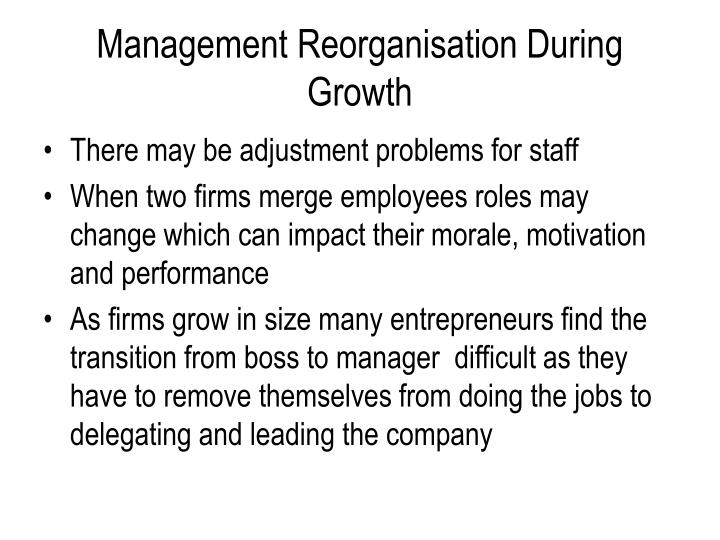 Management Reorganisation During Growth