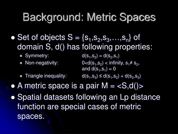 Background: Metric Spaces