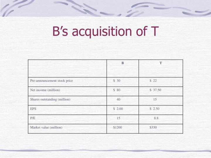 B's acquisition of T