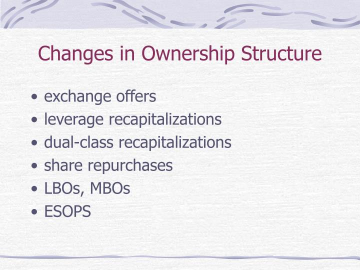 Changes in Ownership Structure