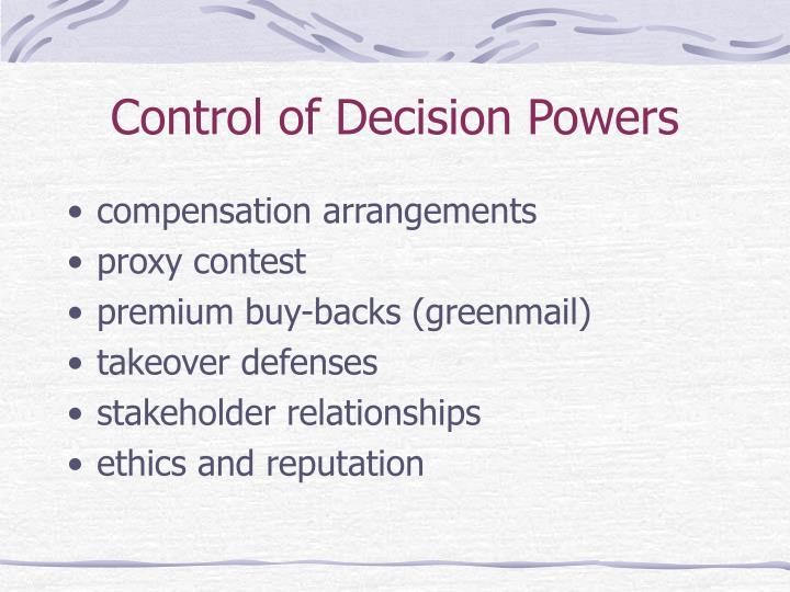Control of Decision Powers