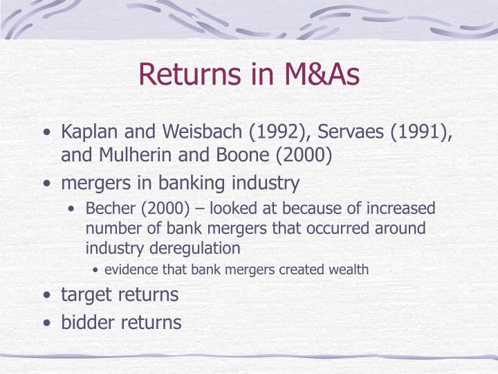 Returns in M&As