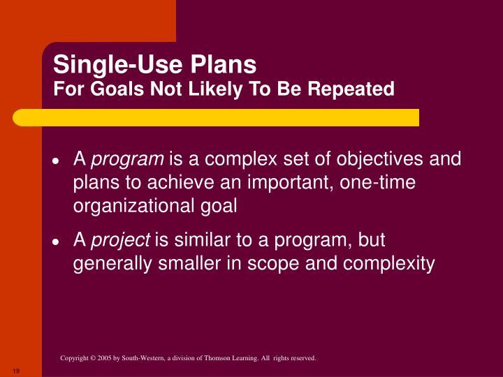 Single-Use Plans