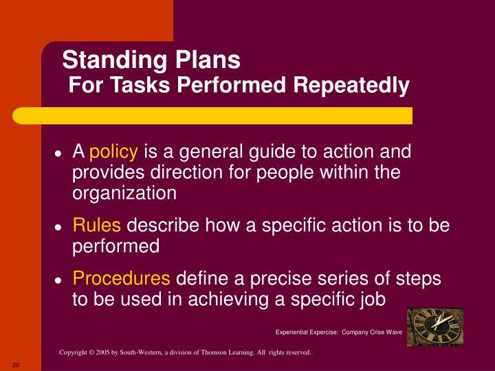 Standing Plans