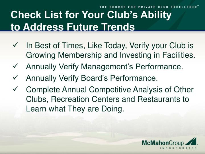 Check List for Your Club's Ability to Address Future Trends