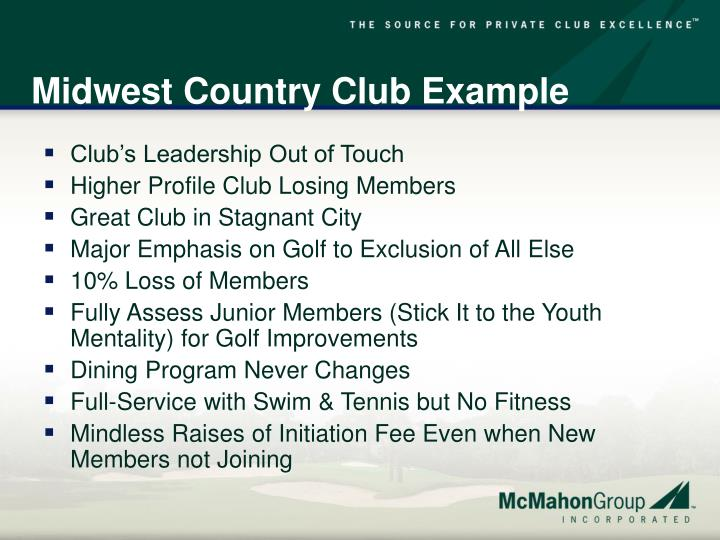 Midwest Country Club Example