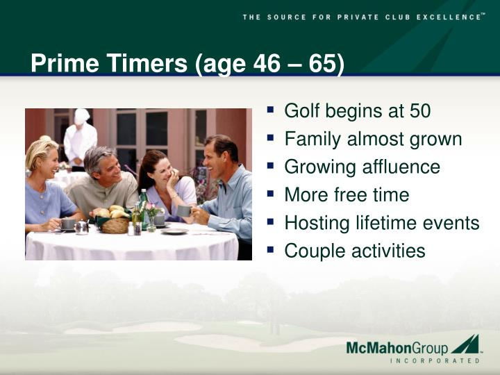 Prime Timers (age 46 – 65)