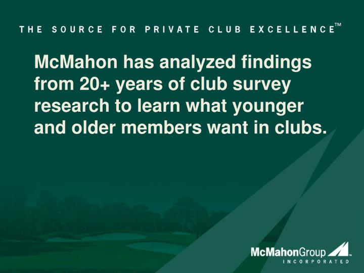 McMahon has analyzed findings from 20+ years of club survey research to learn what younger and older members want in clubs.