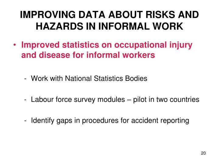 IMPROVING DATA ABOUT RISKS AND HAZARDS IN INFORMAL WORK