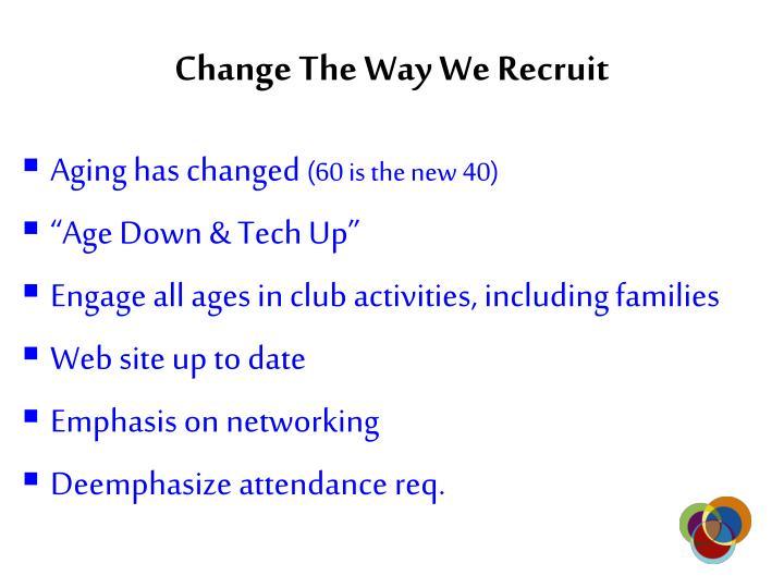 Change The Way We Recruit