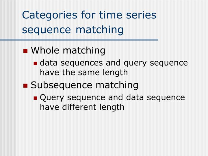 Categories for time series sequence