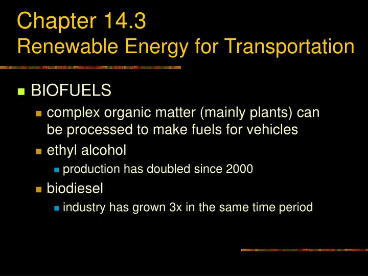 Chapter 14 3 renewable energy for transportation