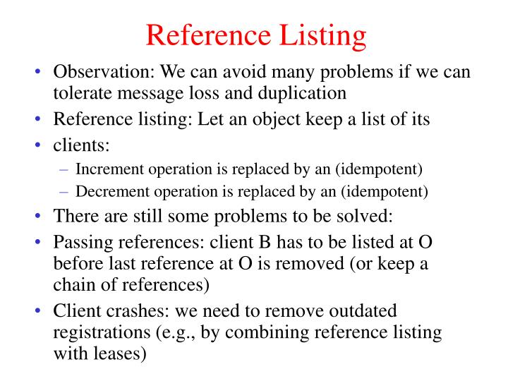Reference Listing