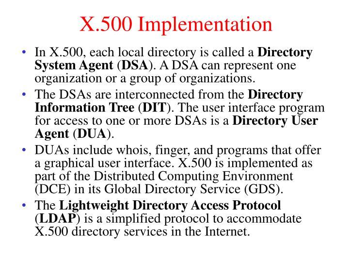X.500 Implementation