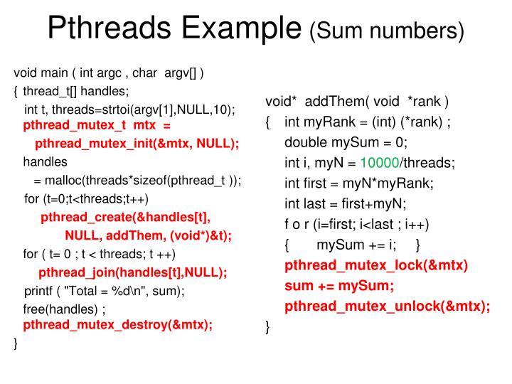 Pthreads Example