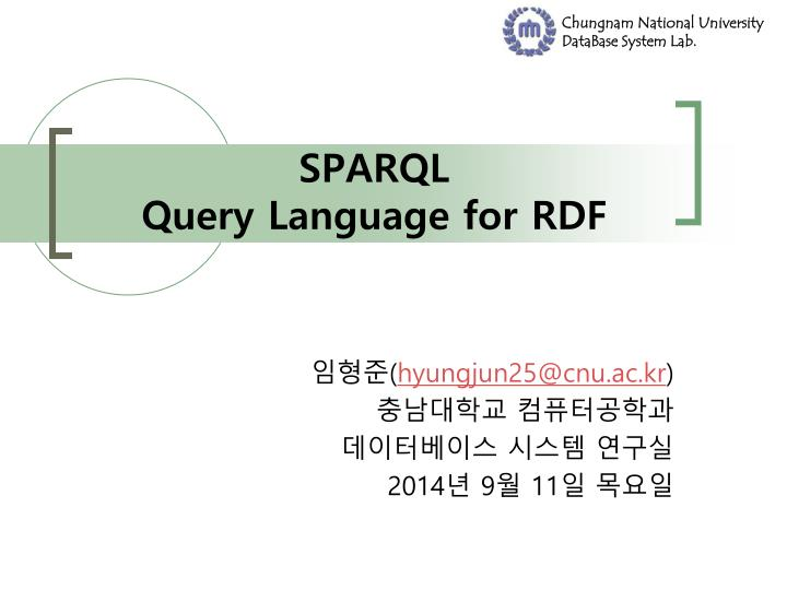Sparql query language for rdf