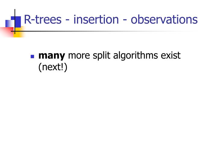 R-trees - insertion - observations
