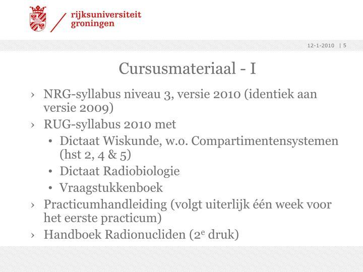 Cursusmateriaal - I